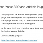 Yoast SEO Conflict with AddThis Plugin